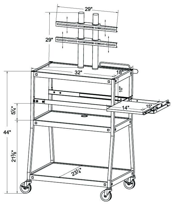 fpc4418e flat panel tv cart