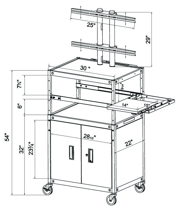 fpcab5434e flat panel tv cart